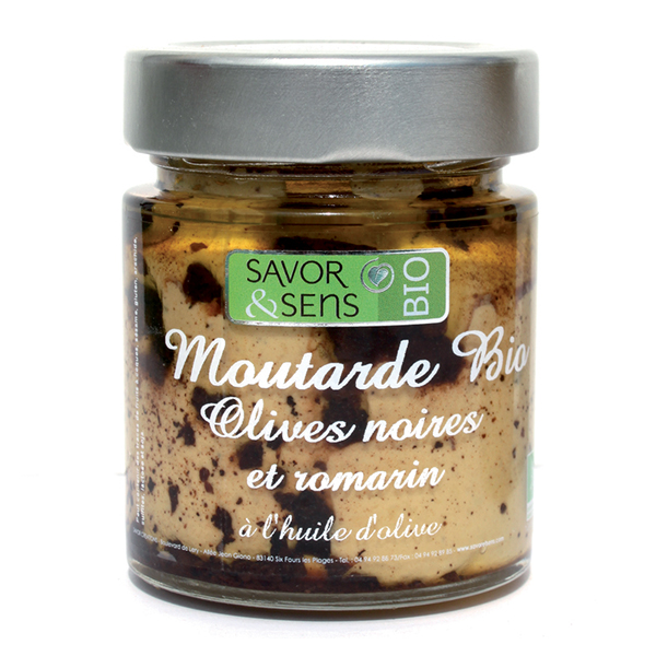 MOUTARDE BIO OLIVES NOIRES ROMARIN 130g